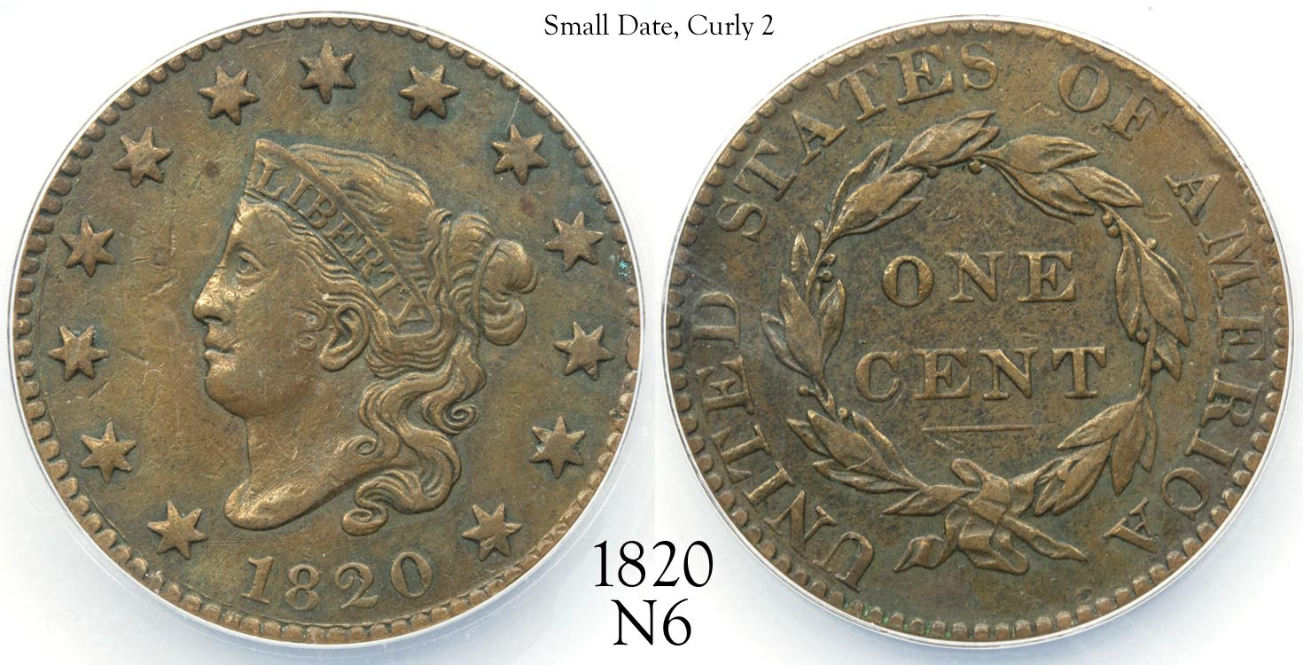1820 Large Cent N6 Small Date, Curly 2.