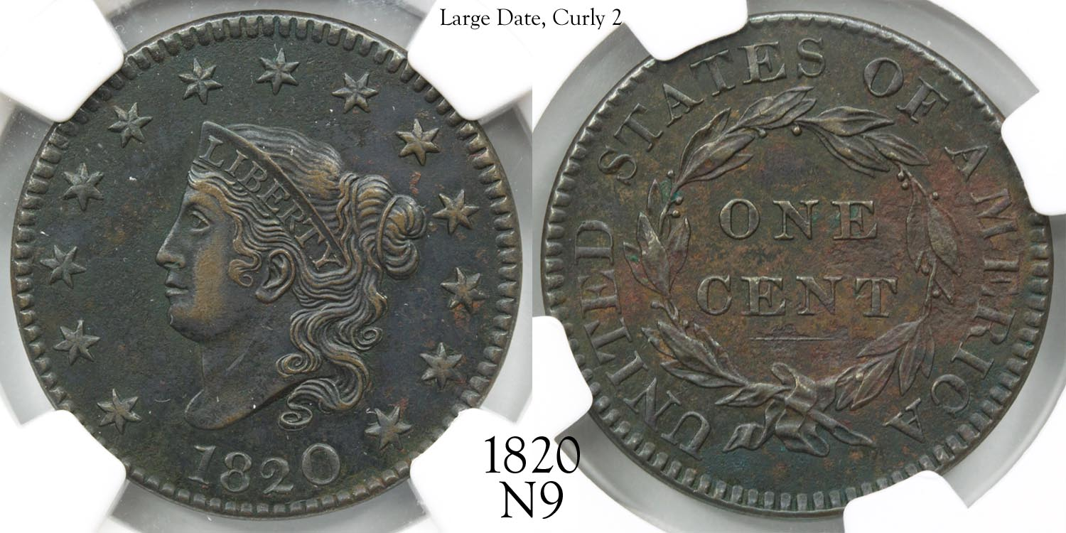 1820 Large Cent N9 Large Date, Curly 2