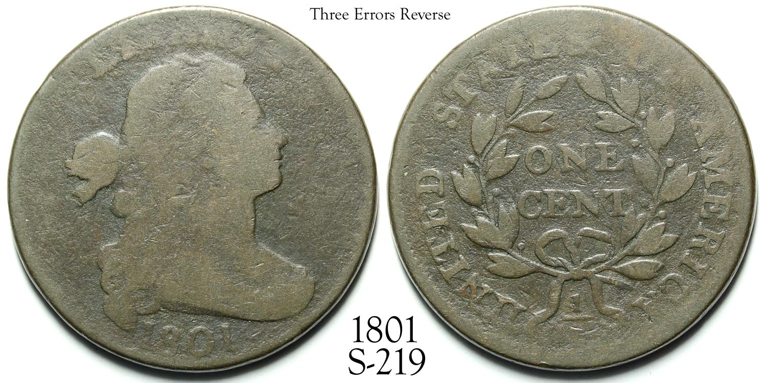 1801 Large Cent S-219 Three Errors Reverse