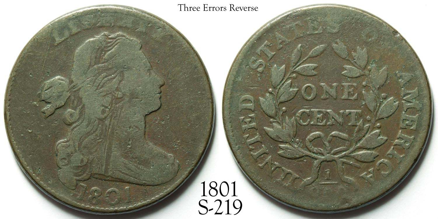 1801 Large Cent S-219 Three Errors Rev