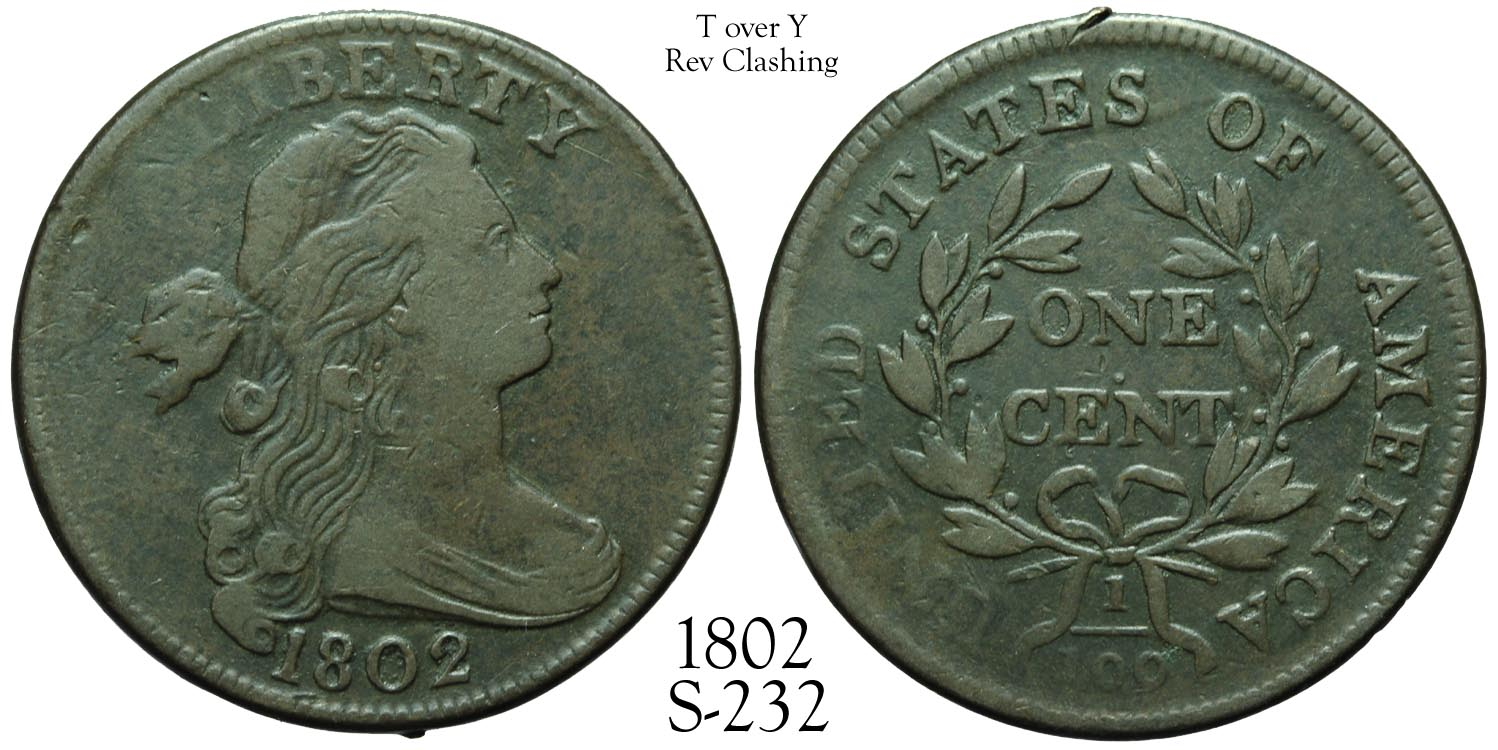 1802 Large Cent S-232 T over Y, EDS