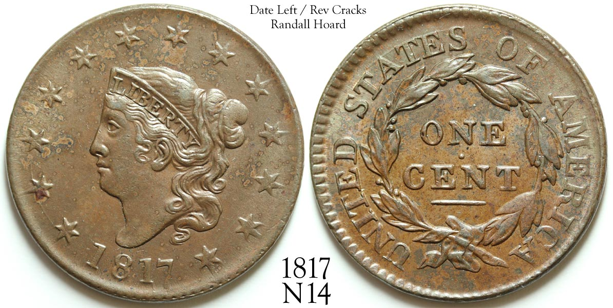 1817 Large Cent N14 Date Left, Rev Cracks