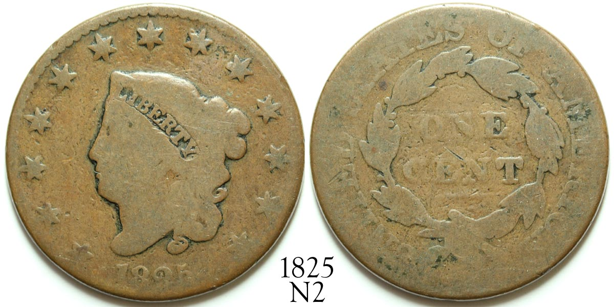 1825 Large Cent N2